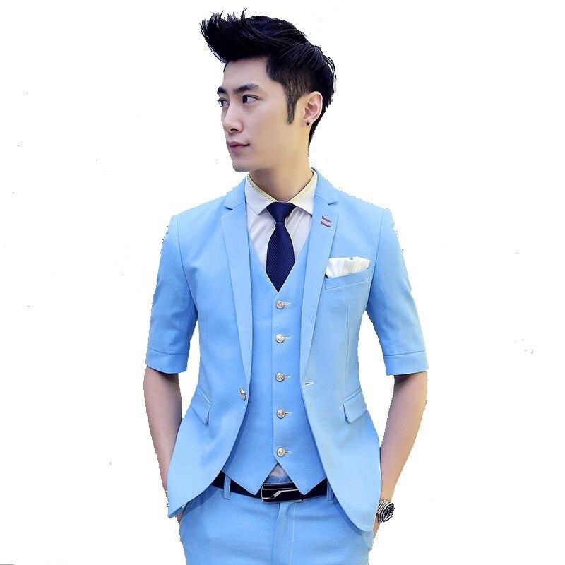 white 2016 blue Pantalon Gilet yellow dark Green vestes New green Robe light Blazer Costume purple Unique light Hommes Poitrine Manches De Green red Jaune Moitié Blue Casual Mariage Black Summer BBa6rSq
