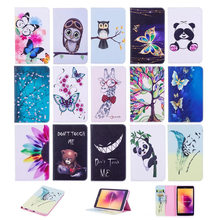 For Samsung T380 Tablet Case PU Leather Tower Flower Wallet