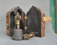 Christmas Old Tibet Wood Bronze Gold Om Mani Padme Hum Dorje Vajra Bell & Holder Box Halloween