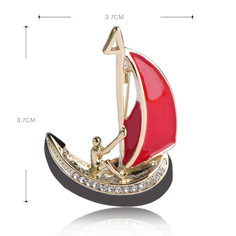 Blucome Rosso Smalto Esmalte Anchor Spille Per Le Donne di Colore Dell'oro Clip Dei Monili di Barretta di Cristallo Spilla Pins Collare del Vestito Migliori Regali