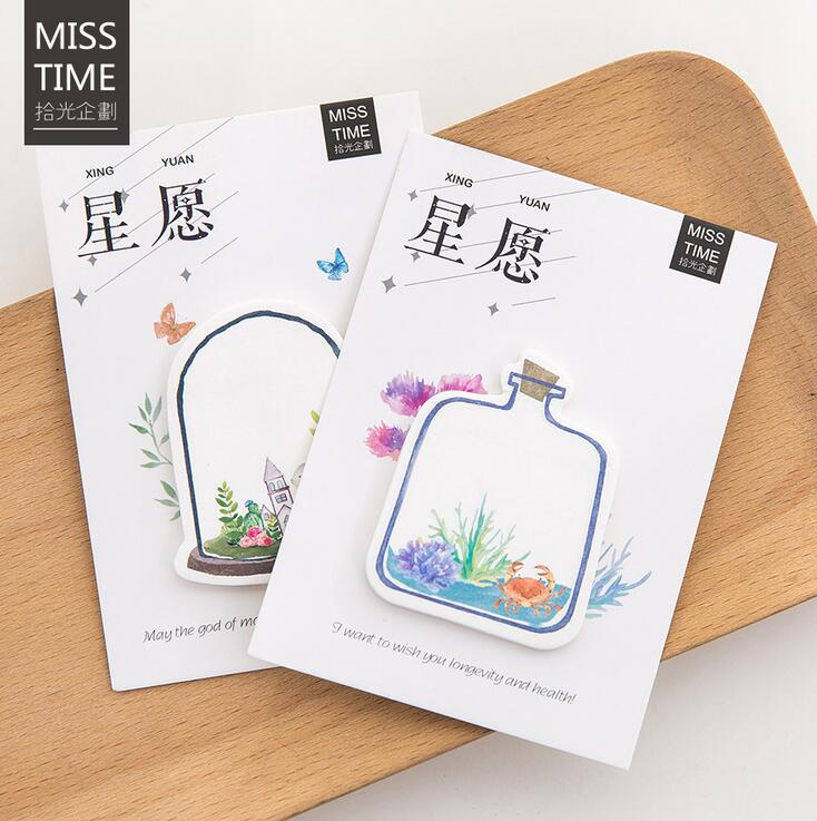 Best Wishes Bottle Memo Pad N Times Sticky Notes Escolar Papelaria School Supply Bookmark Label stylish memo pad scheduler about 160 page