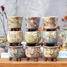 LuckyVin Horticulture Succulent Plant Pots Stoneware Breathable Thumb Pot Ceramic Potted Plants Ceramics Flower