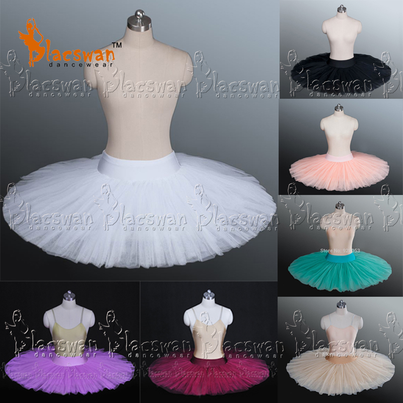 Girls 8 Layer Stiff Pancake Ballet Tutu Adult Black Half Tutus BT601 Practice Skirts Kids Platter Bases White - Guangzhou Blacswan Dance & Activewear Co., Ltd. store