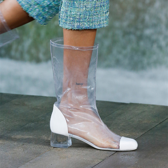 Spring 2018 Trend Plastic Bag Boots Chunky Heel Knee High Gladiator Women Sandals Clear Pvc Transpa