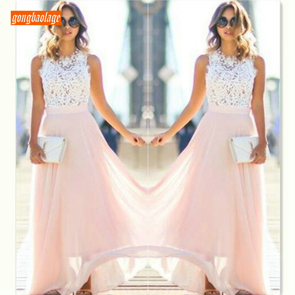 Formal Women Pink Long Evening Dresses 2019 New Sexy Party Gowns Scoop Lace Chiffon Zipper A Line Floor Length Cheap Beach Dress