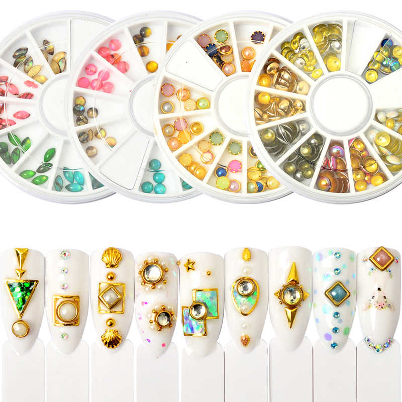 YZWLE 29 Patterns Colorful Nail Rhinestone Studs Chameleon Round Flat Bottom For Manicure DIY Tips Nail Art Decoration in Wheel