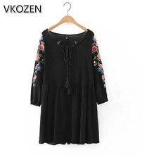 2017 Fashion Vestidos Vintage Floral Embrodiery 3/4 Sleeve Tied Tassel O-Neck Loose Pleated Hem Black Women Brand Summer Dresses