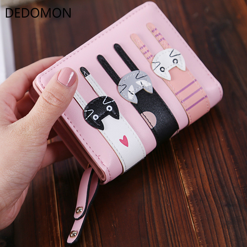 2017 Fashion Zipper Short Women Wallets Cat Pattern Luxury Brand Leather Embroidery Small Hasp Cion Purse Card Holder Handbags fashion small wallet women short luxury brand cute female purse pu leather cat design girls lady zipper wallets card holder bags