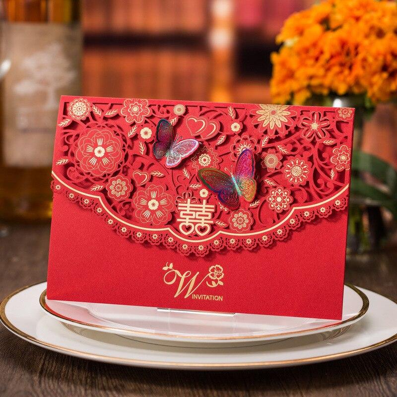 50 шт./лот красный полые лазерная резка свадебные Приглашения бабочка декор приглашая карт для события вечерние поставки Casamento украшения