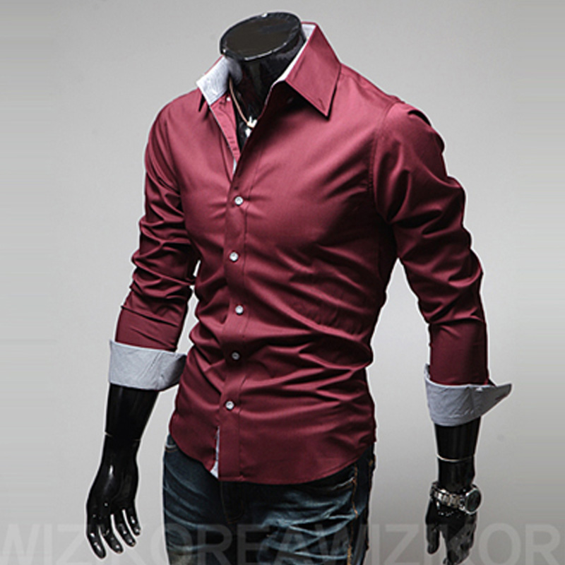 2018 Fashion Unique Button Solid Dress Mens Shirts Asian Size 3XL Long Sleeve Casual slim Fit Social Shirts Male Camisa Hombre 1