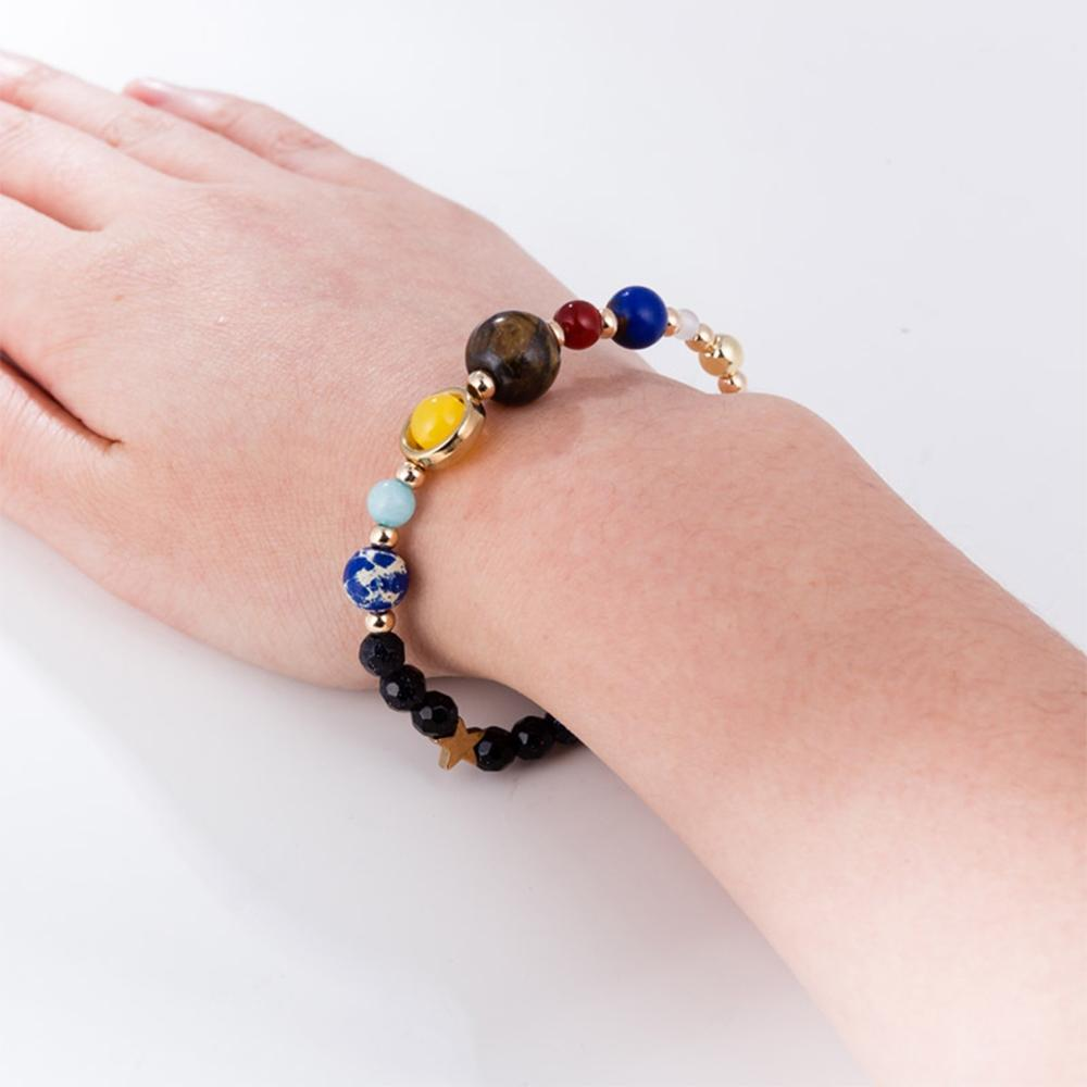 Classic Cosmic Galaxy Solar System Eight Planets Bracelet Women Trend Jewelry Guardian Stars Natural Stone Beaded Bracelets Girl