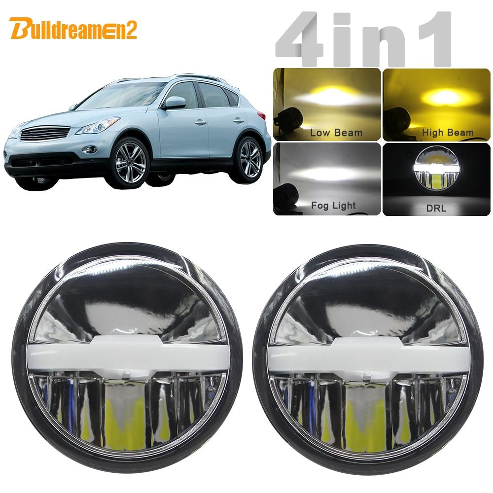 4in1 voiture LED ampoule feu de brouillard phare haut feux de croisement DRL + faisceau de câbles 12V trois couleurs pour Infiniti EX EX25 EX35 EX37 2008 2013