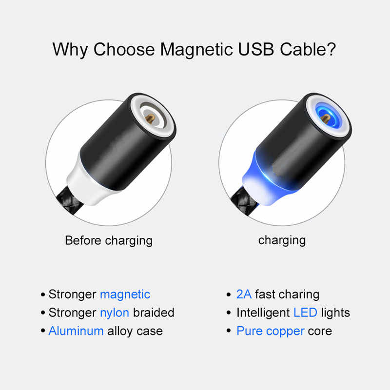 Carga rápida 3,0 cargador USB para iphone Samsung Xiaomi rojo mi nota 7 6 Pro 7A mi 8 Lite A2 lite 9 se A1 mi x 2s Cable usb magnético
