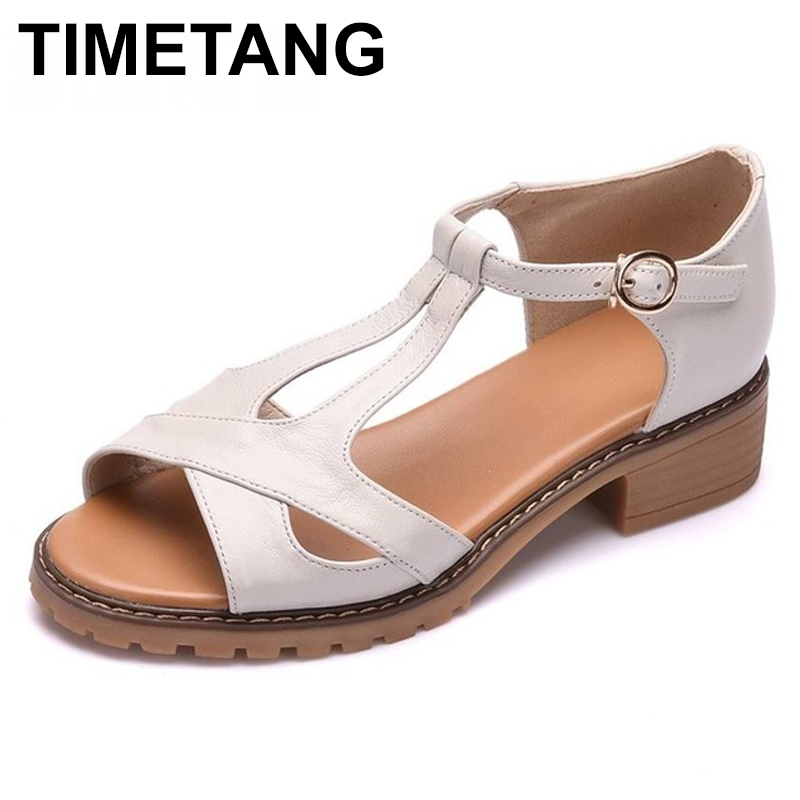 TIMETANG  2018 Genuine leather Summer woman sandals new style fashion ladies shoes sandals women summer shoes TIMETANG  2018 Genuine leather Summer woman sandals new style fashion ladies shoes sandals women summer shoes