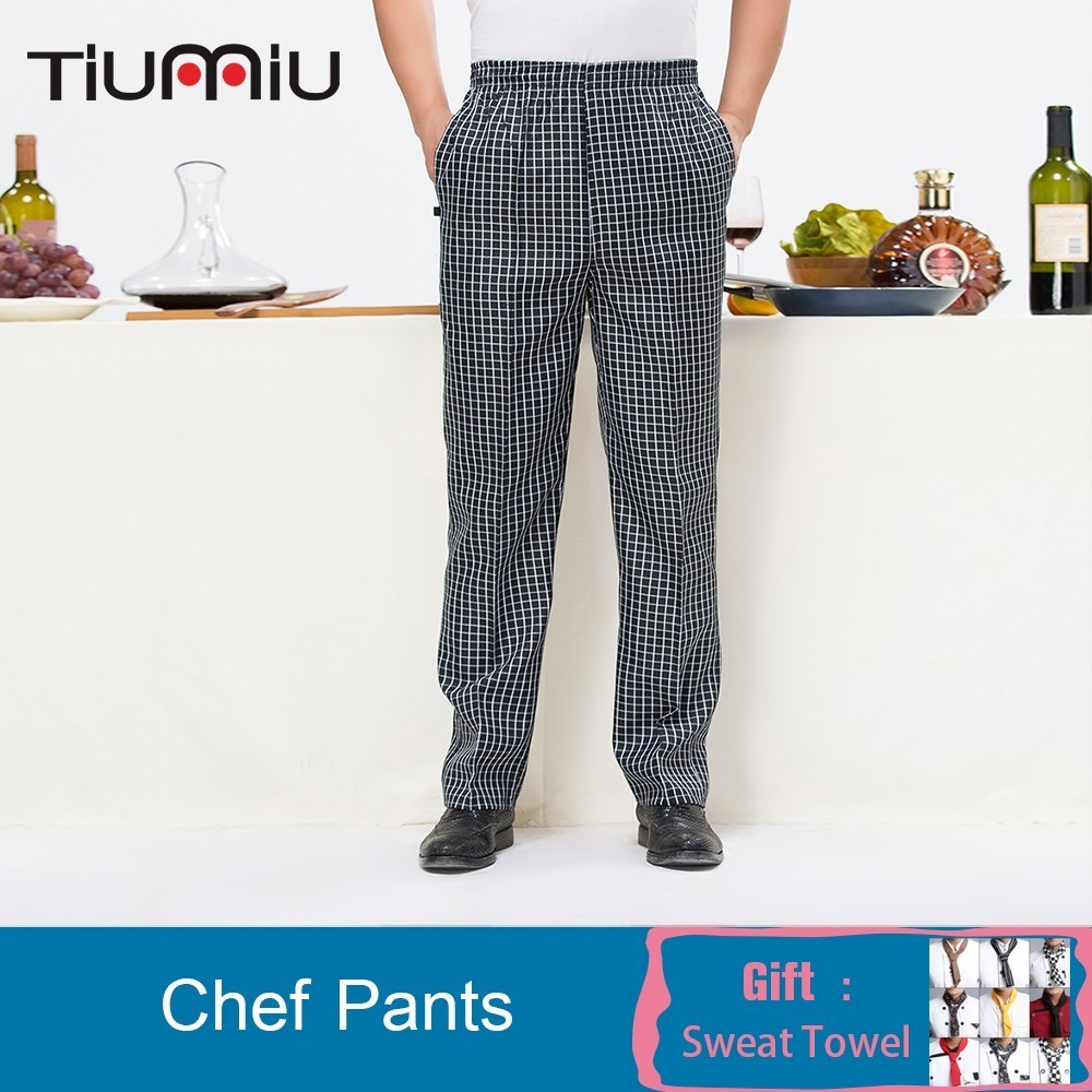Chef Pants Work Men Elastic Waist Long Cozinha Hotel Wholesale Print Logo Custom Kitchen Wear Clothes Trousers Restaurant