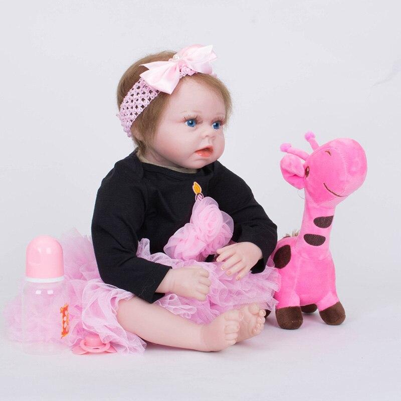 Reborn Doll Silicone 55cm Lifelike Sleeping Newborn Girl Baby Play House Girls Birthday Gifts Kid Doll Pullip SB5543 Reborn Doll кукла pullip gosomi isul