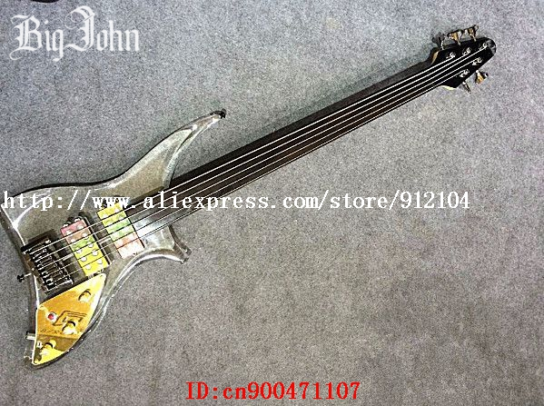 free shipping new Big John fretless 5-strings electric bass guitar with LED light organic glass body+foam box JT-52 china custom fretless 4 string music man electric bass guitar in glossy black in stock
