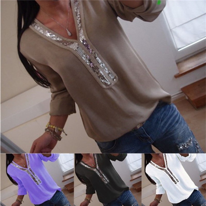 2019 New Women Sexy V Neck Sequins Chiffon Blouse Shirt Spring Summer Long Sleeve Black White Blouses Tops Plus Size 5XL C0571