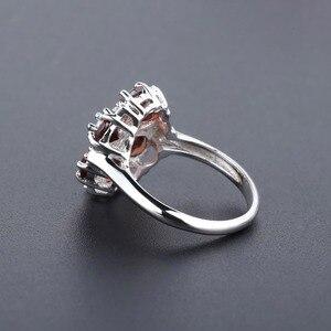 Image 4 - GEMS BALLET 5.05Ct Natural Red Garnet Cocktail Ring 925 Sterling Silver Gemstone Vintage Flower Rings For Women Fine Jewelry