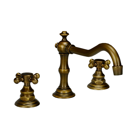 Widespread  Three-hole Deck Mounted Antique Brass Dual Cross Handles Bathroom Basin Faucet / Bath Tub Mixer Tap Can030Widespread  Three-hole Deck Mounted Antique Brass Dual Cross Handles Bathroom Basin Faucet / Bath Tub Mixer Tap Can030