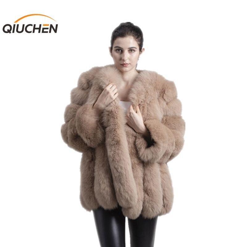 QIUCHEN PJ8128 2018 nuovo arrivo di TRASPORTO LIBERO di inverno delle donne reale della pelliccia di fox del cappotto di vendita calda grande collo di pelliccia lunga di modo del manicotto delle ragazze del rivestimento