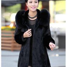 S-4XL Женское зимнее пальто с капюшоном из искусственного меха больших размеров винтажное искусственное черное пальто большого размера из искусственного лисьего меха с капюшоном