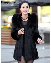 S   4XL abrigos de piel falsa con capucha para mujer, de invierno, de talla grande, Vintage, Artificial, color negro, talla grande, abrigo de piel de zorro de imitación con capucha