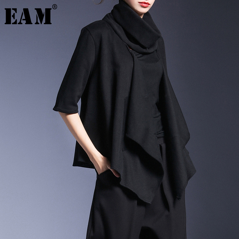 [EAM] 2020 New Spring High Collar Long Sleeve Black Personality Irregular Split Joint Jacket  Women Coat Fashion JH847
