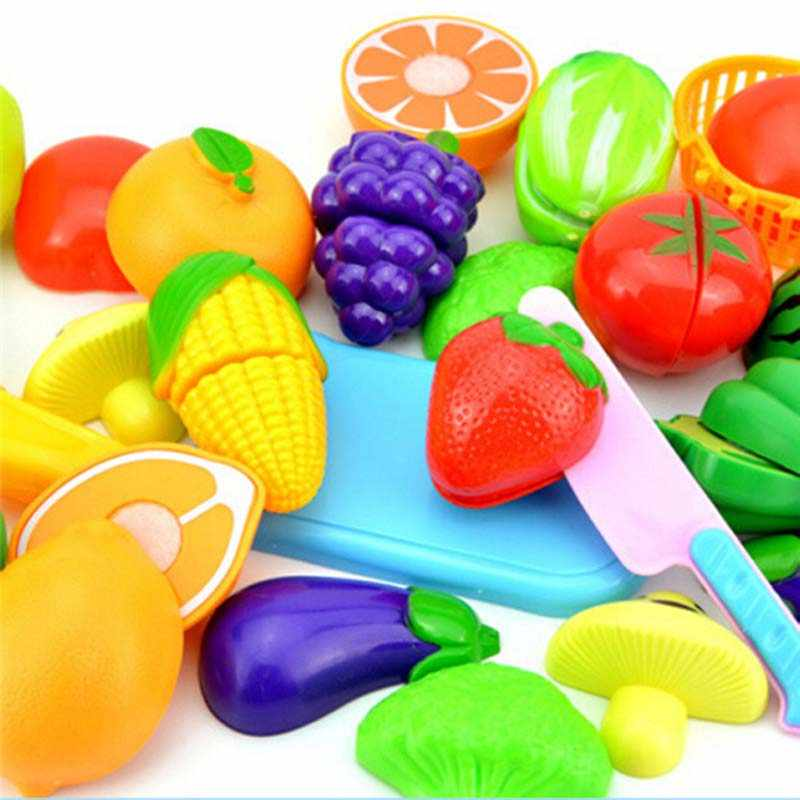 New 12Pcs/Set Safe Children Play House Toy Plastic Food Toy Cut Fruit Vegetable Kitchen Baby Kids Pretend Play Educational Toys