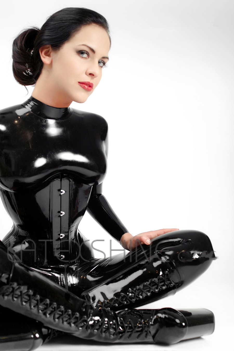 Black-Latex-Catsuit-Women-Full-Bodysuit-Leotard-Latex-Clothing-with-Black-Latex-Corset