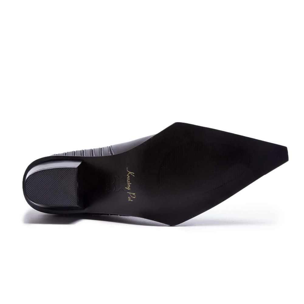 Krazing pot/ботильоны из кожи с натуральным лицевым покрытием; ботинки «Челси» с острым носком на среднем каблуке; ограниченная настройка; ботинки «Челси» в европейском и британском стиле; L53