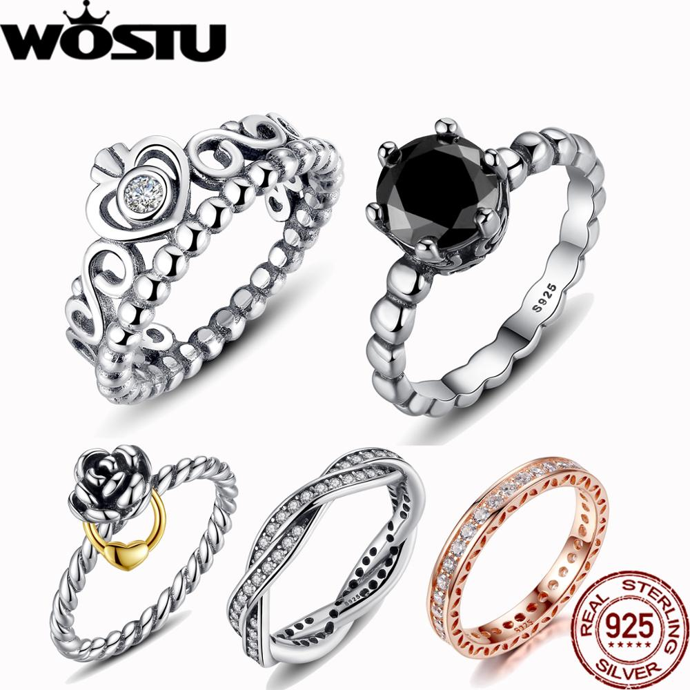 WOSTU 5 stiler Hot Sale Sølv & Golden Black Stone Crown Enkle ringer kompatible med originale WST Ring smykker ZBB7215