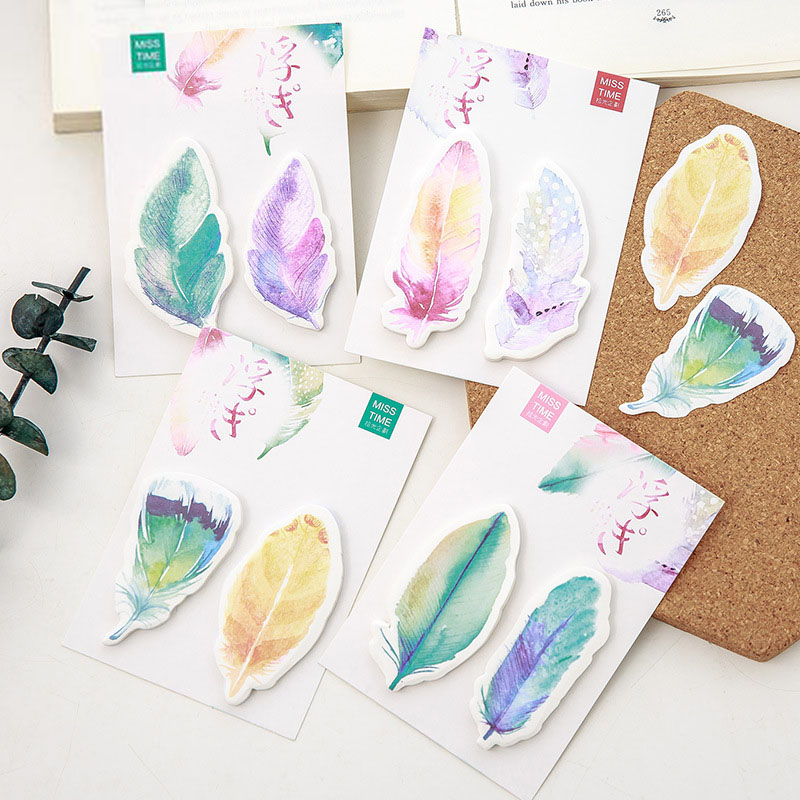 New Cute Kawaii Feather Sticky Notes Memo Pad Post It Note For Kids Stationery Gift School Supplies Student 3305