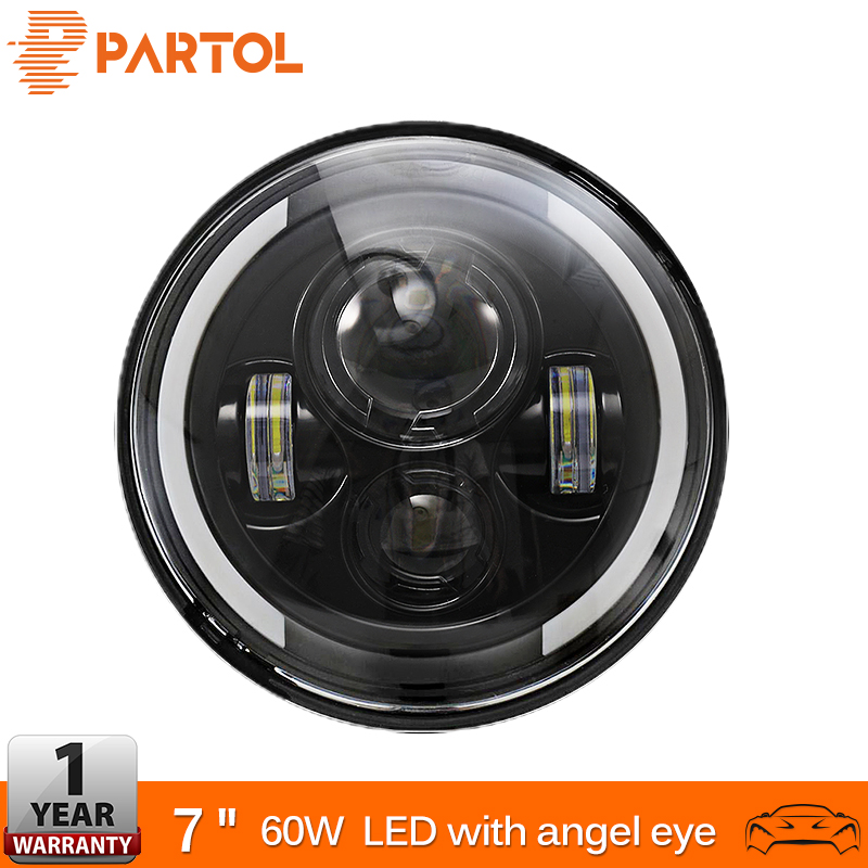 Partol 7 60W LED Headlights H4 H13 Hi Lo Beam Headlamp Projector Angel Eyes Car Light Motorcycle for Jeep CJ/Wrangler JK/Harley