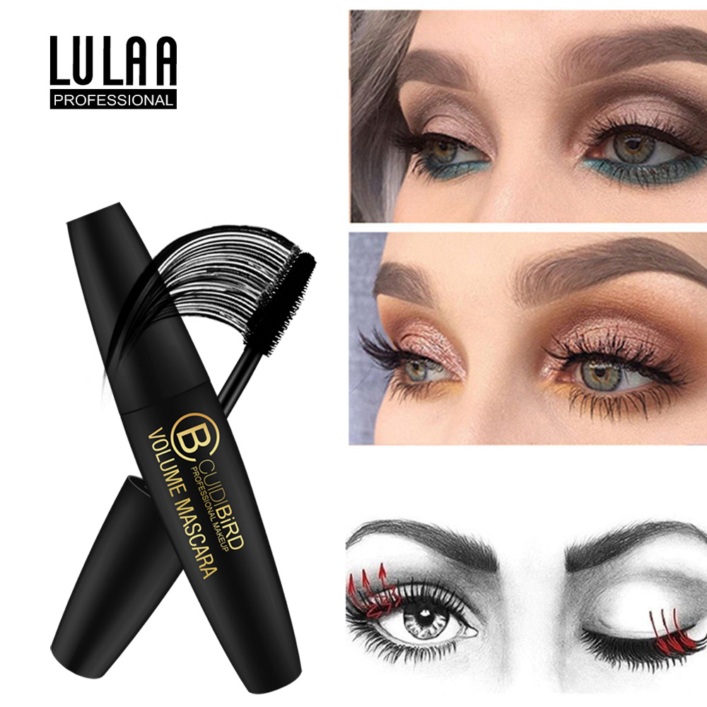 LULAA 4D Fiber Mascara Lash Makeup Waterproof Length Extension Eyelash Black Thick Brush Quick Dry Eye Make Up Eye Cosmetics