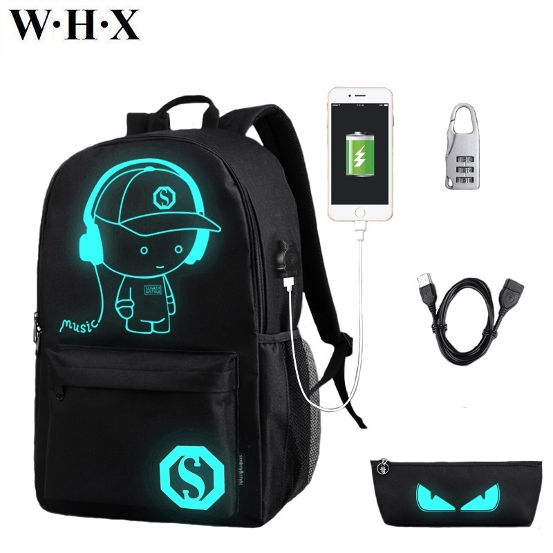 WHX Children Backpack Knapsack SchoolBag For Women Men Unisex Girls Boys Student Pupil School Bags Kids Book Bag USB charging chatterbox pupil s book 2