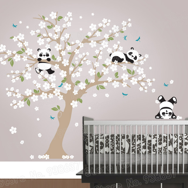 Panda Bear Cherry Blossom Tree Wall Decal For Nursery Vinyl Self Adhesive Stickers Flower Home Decor Bedroom Zb572