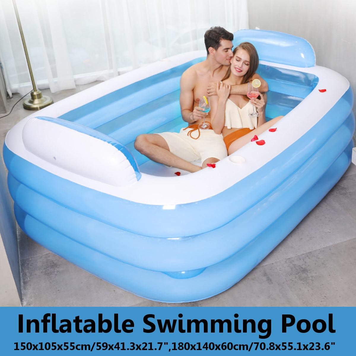 180 cm/150 cm baignoire pliable baignoire gonflable pour adultes garder au chaud baignoire de piscine avec pompe à Air baignoire