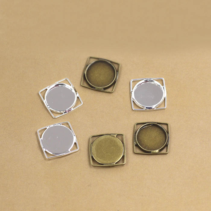 Blank Wired Square Bezel Bases Plated 12mm Inner Round Bezel Cabochons Pendant Earrings Settings Jewelry Findings Components