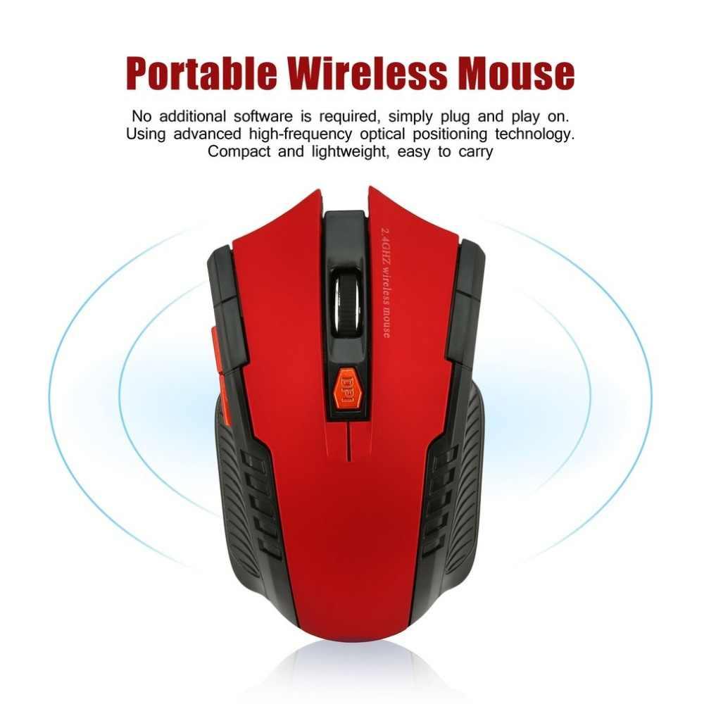 WH109 المحمولة 2.4GHz ماوس بصري لاسلكي مع استقبال USB مصممة للمنزل مكتب لعبة اللعب استخدام التوصيل والتشغيل