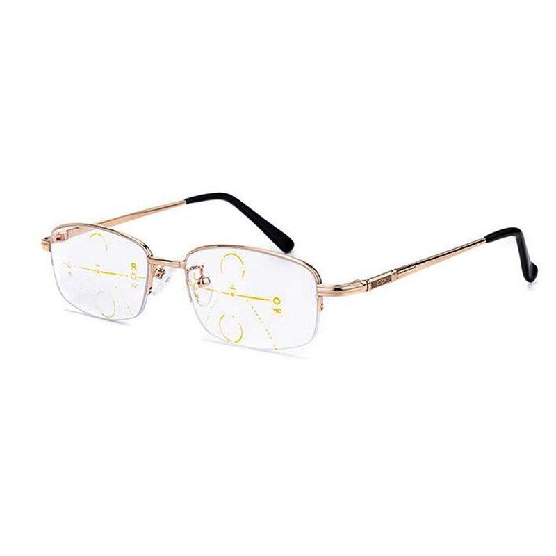 2d0b3542bc Alta calidad mitad Rim Multifocal Progresiva lente Gafas de lectura para  los hombres y las mujeres la presbicia lente Metal Gafas lupa Gafas N9