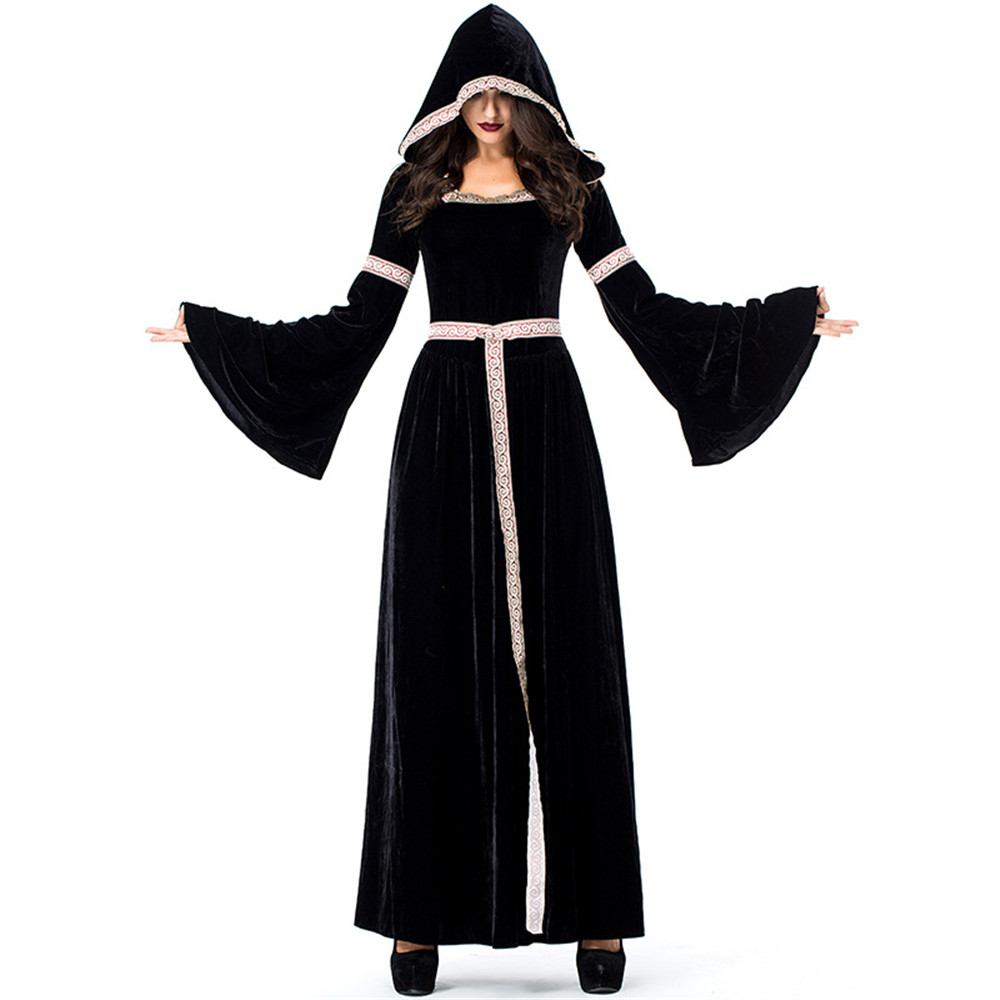 Cosplay occident Halloween purim black witch dress ghost court retro Victoria hooded dress for women Carnival costume fany dress