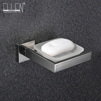 Free shipping wall mounted soap dish stainless steel holder square glass dish soap box bathroom accessories