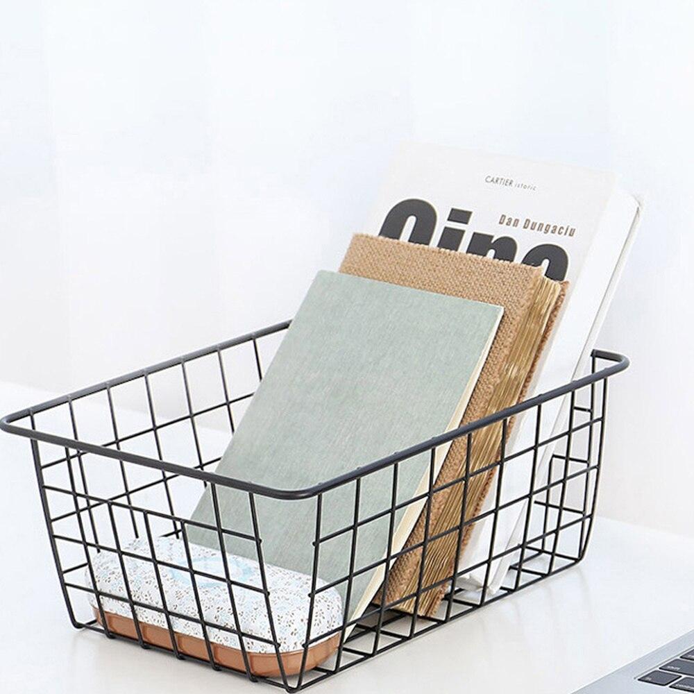 US $7.8 50% OFF|Iron Art Storage Basket Book Toiletries Sundries Snacks  Organizer Black White Minimalist Style Kitchen Bedroom Storage Baskets-in  ...