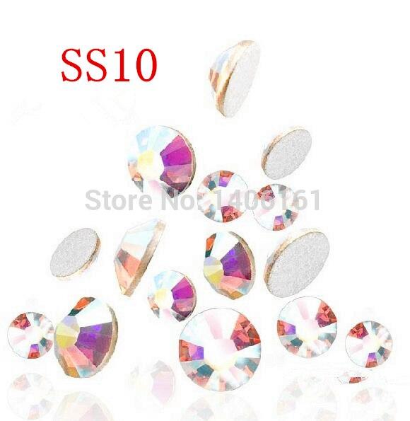Super Shiny 1440PCS SS10 2.7-2.8mm Clear AB Glitter Non Hotfix Crystal AB Color 3D Nail Art Decorations Flatback Rhinestones super shiny 1440p 6ss 2mm crystal non hotfix fuchsia nail art rhinestones for nails 3d nail art decoration glitter jewerly