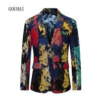 Print Blazer Mens 2019 Fashion Slim Fit Suit Men Sequin Blazer Male Plus Size 5XL 6XL Costume Homme Mens Blazer High Quality