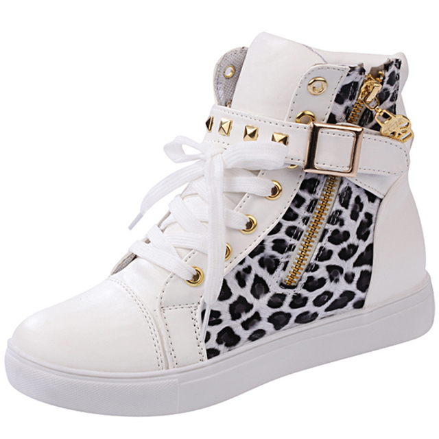 High Quality New Fashion Spirng Autumn Women's Shoes Sport Boots Zipper Buckle with Belt Rivet Height Increasing Casual