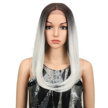magic Straight Synthetic Lace Front wig Middel Part gray Col