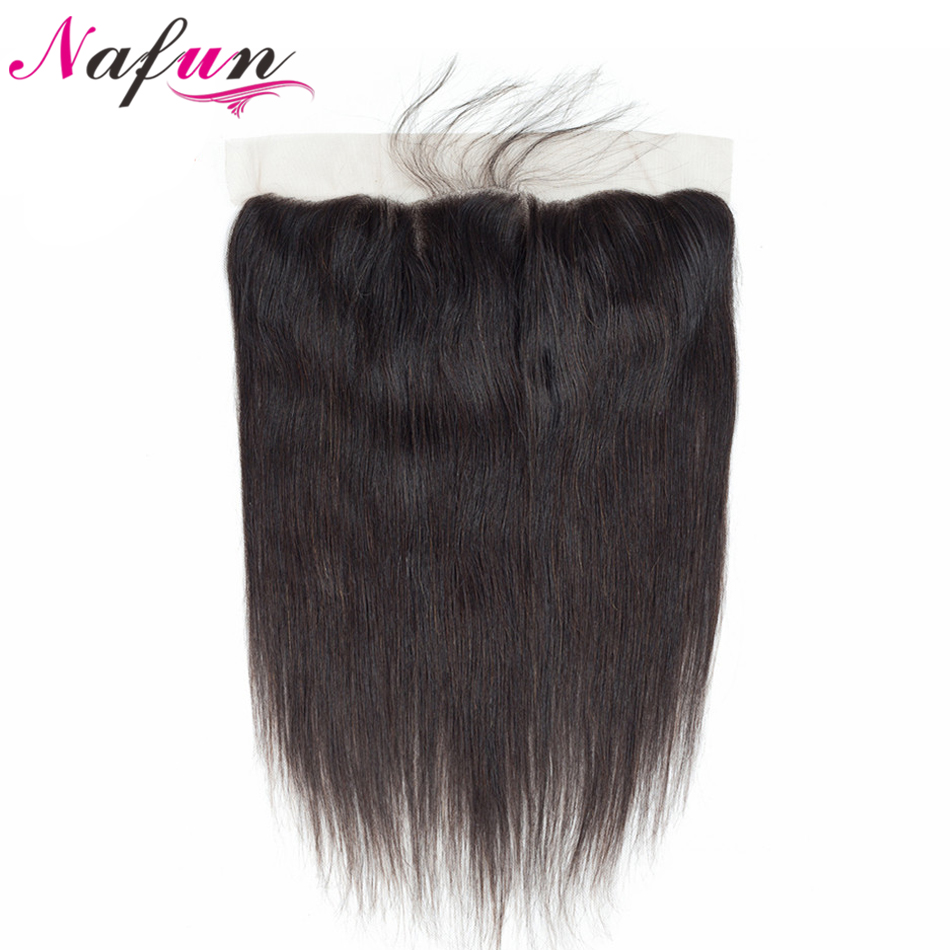 NAFUN Lace Frontal Closure With Baby Hair Human Hair Lace Closure Non Remy Brazilian Straight Hair Weaving Swiss Lace Frontal(China)