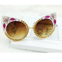 2016 Fashion Designer Crystal Flower Cat Eye Sunglasses Baroque Women Beach Sungalsses Female Vintage  UV400 Sun glasses